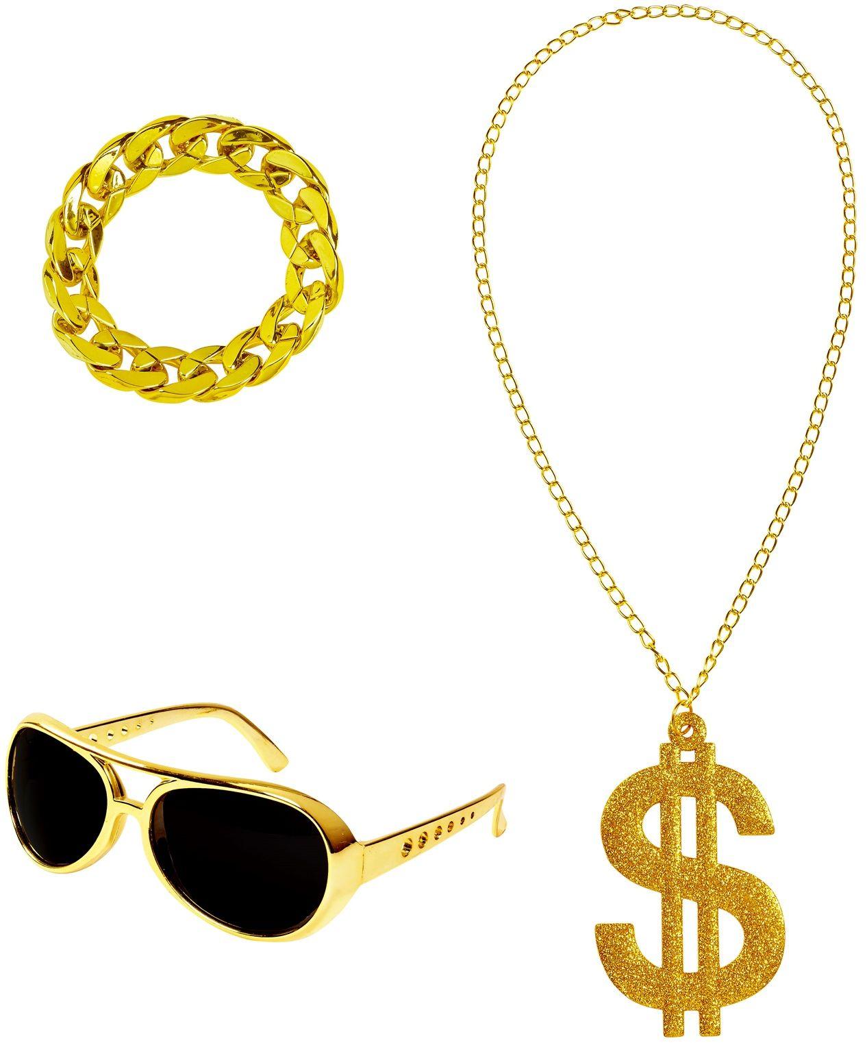 Gouden rapper accessoires heren