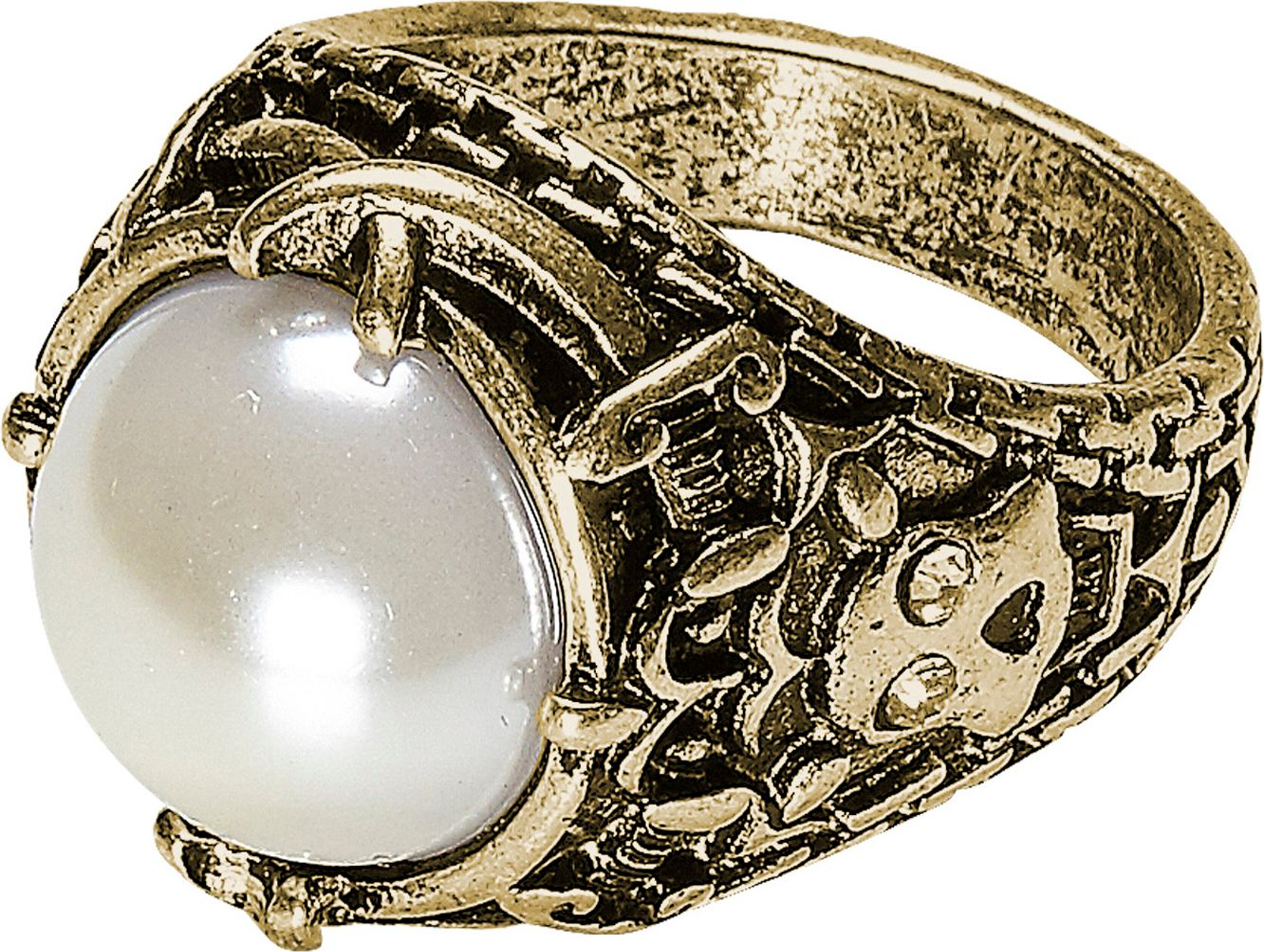 Gouden ring met witte parel