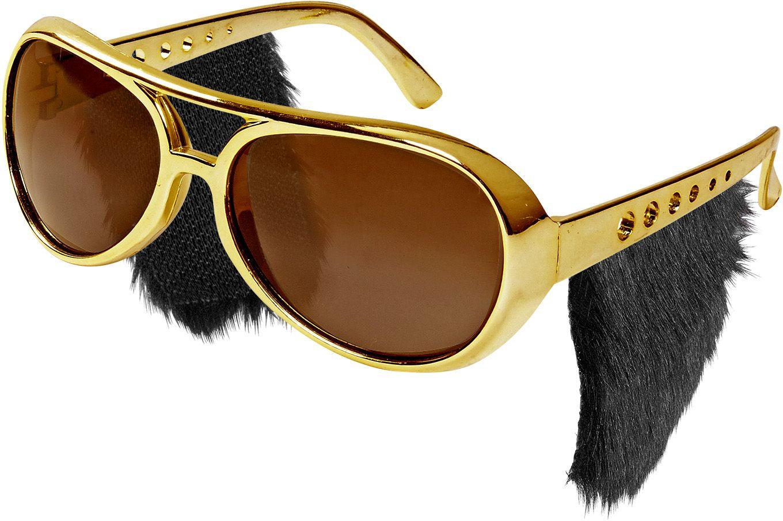 Gouden Rock 'N Roll bril met bakkebaarden