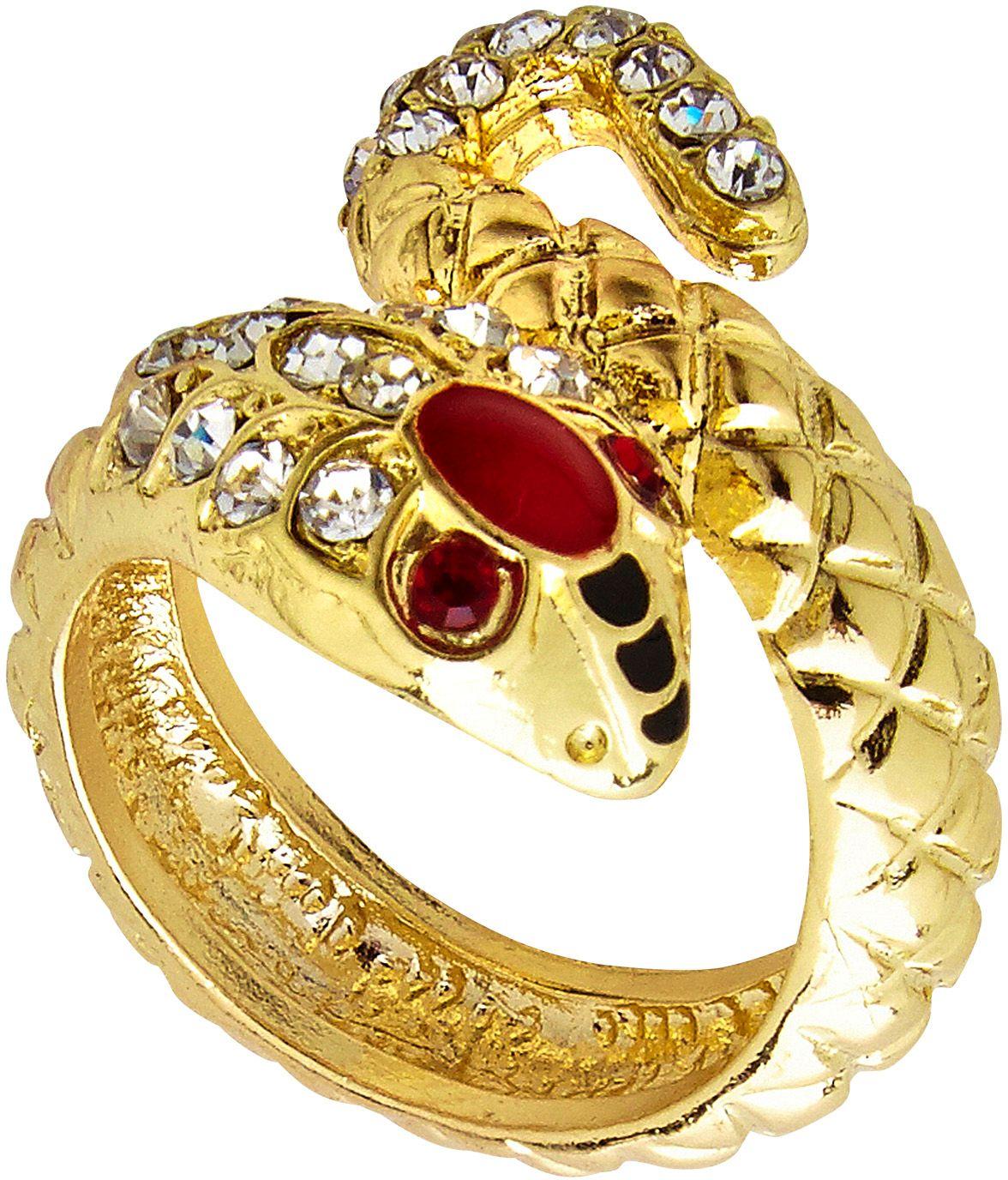 Gouden slangen ring met edelsteen