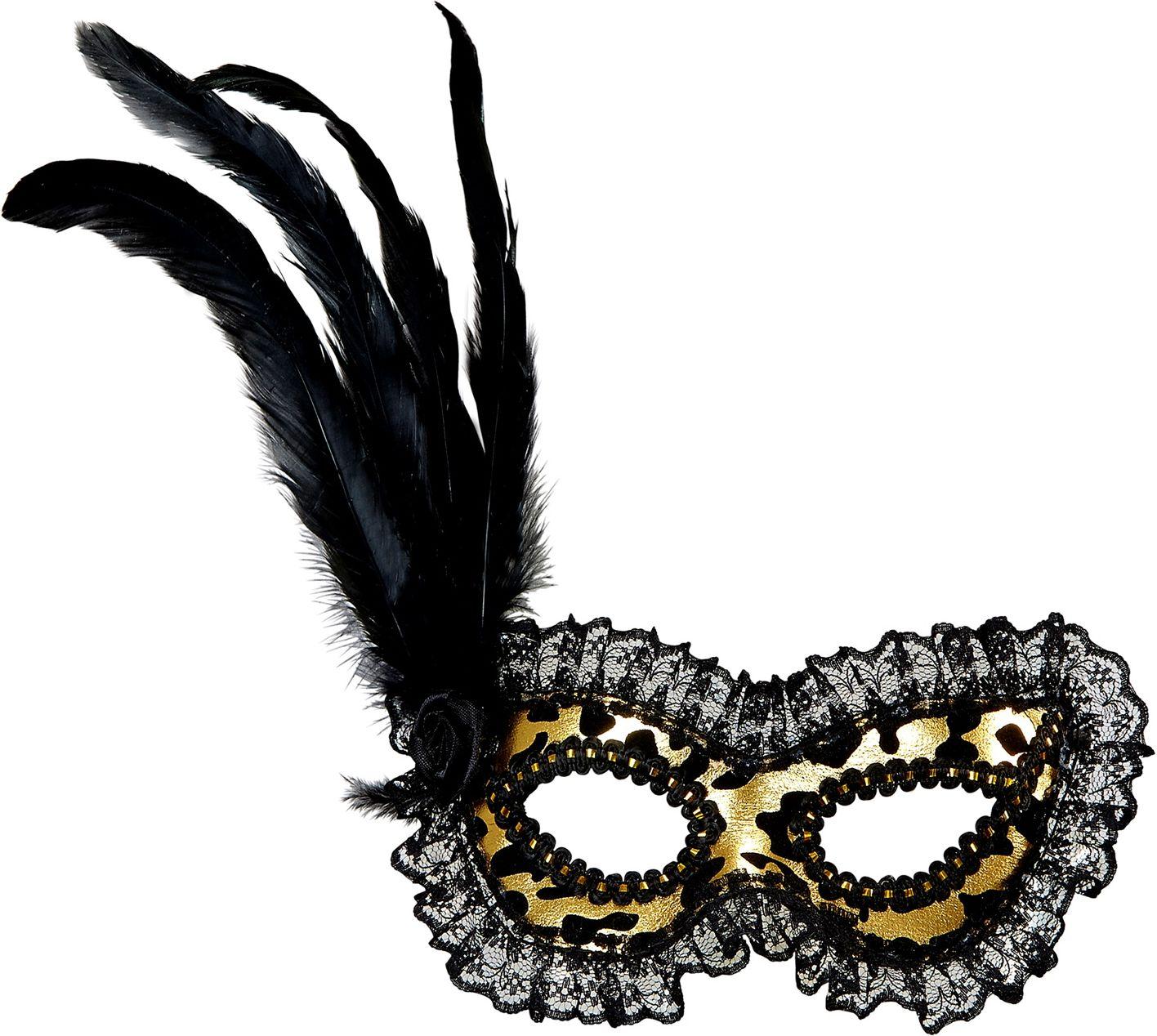 Gouden venetiaans oogmasker met kanten rand en veren