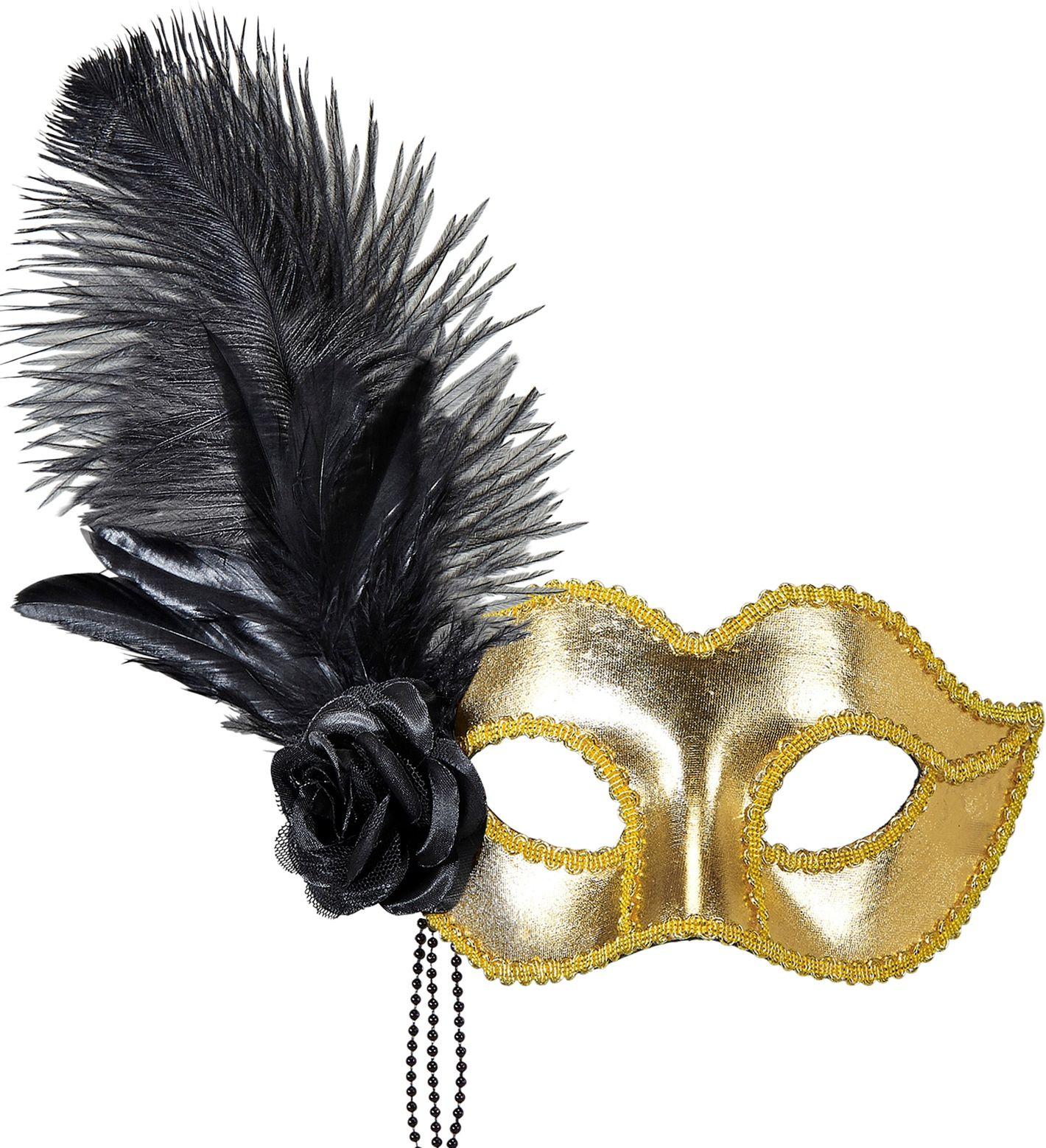 Gouden venetiaans oogmasker met veren en roos