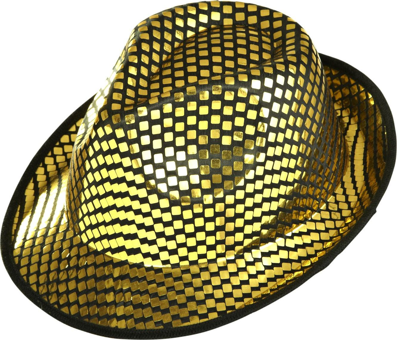 Gouden vierkante pailletten fedora