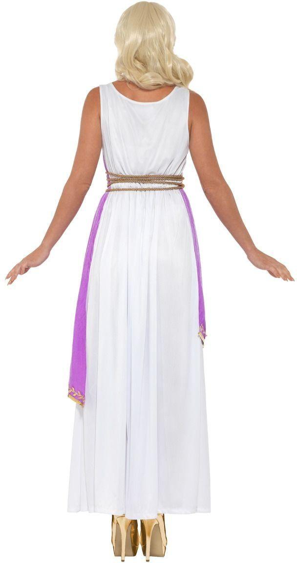 Griekse godinnen jurk wit paars