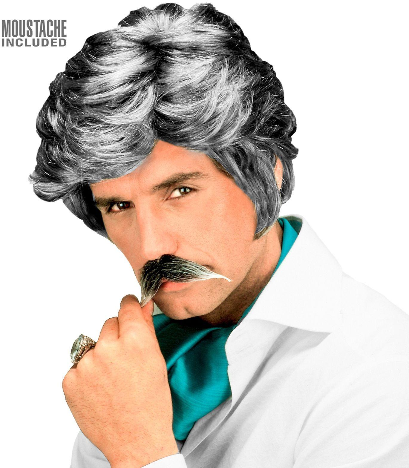 Grijze 80s playboy pruik met snor
