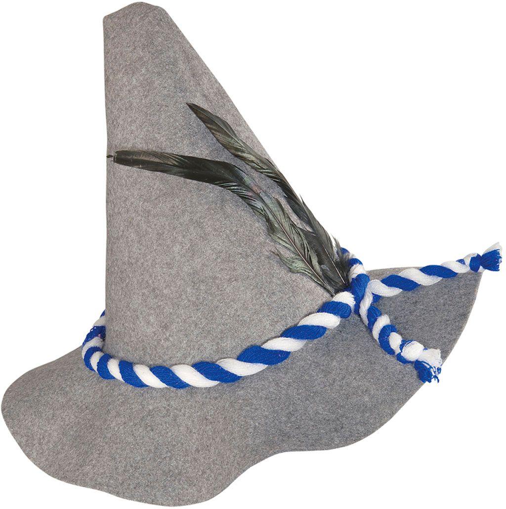 Grijze beierse hoed met veren