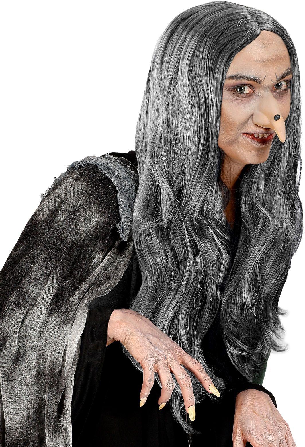 Grijze heksen pruik