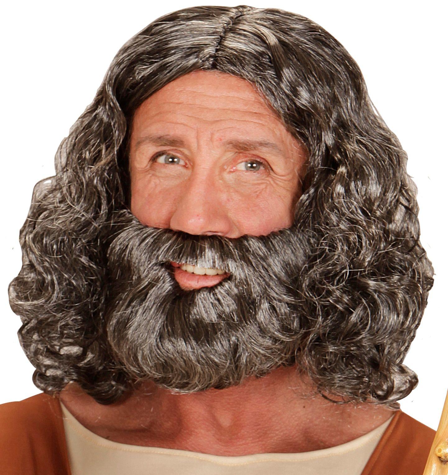 Grijze Jezus pruik met baard