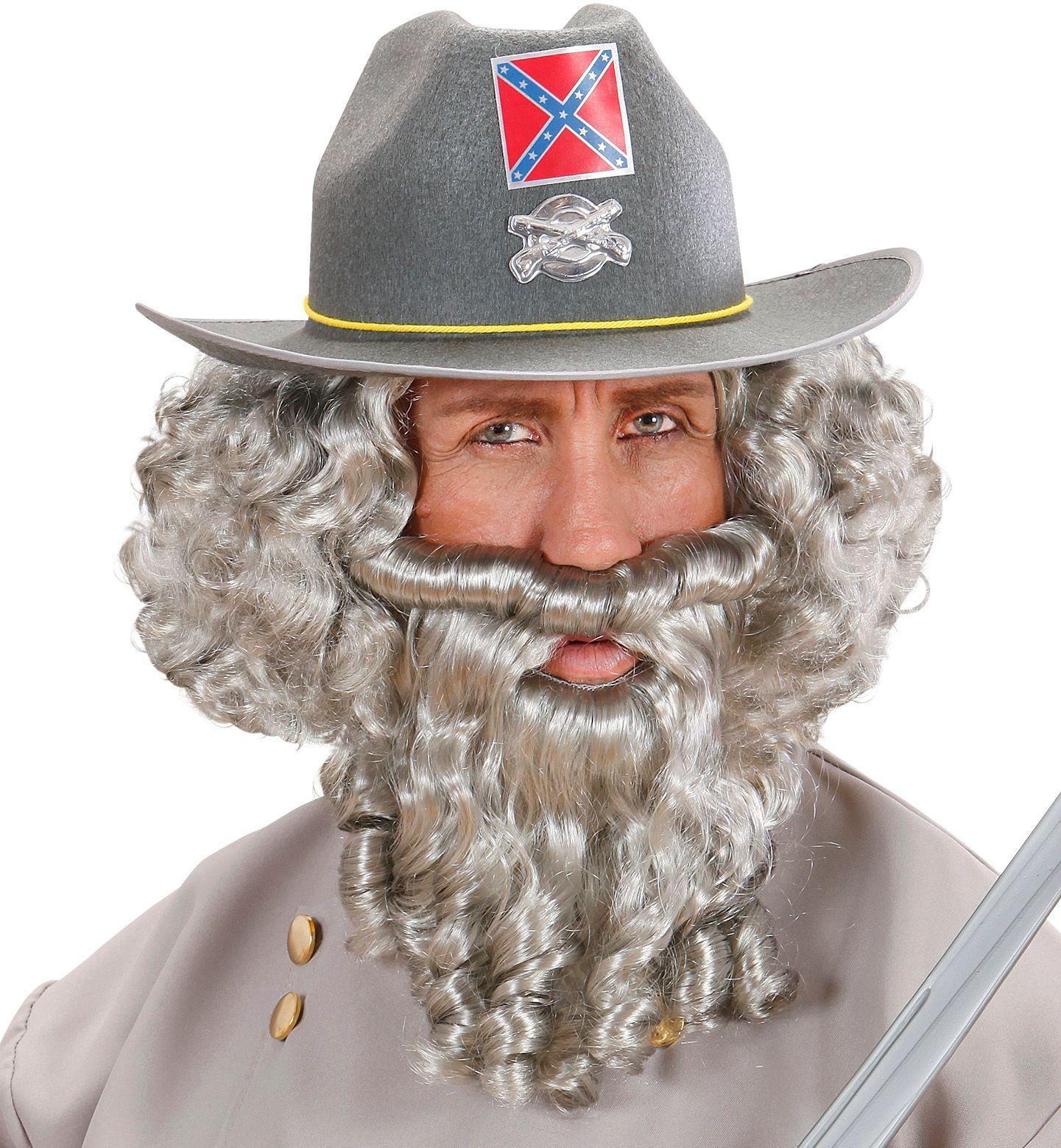 Grijze pruik met baard en snor