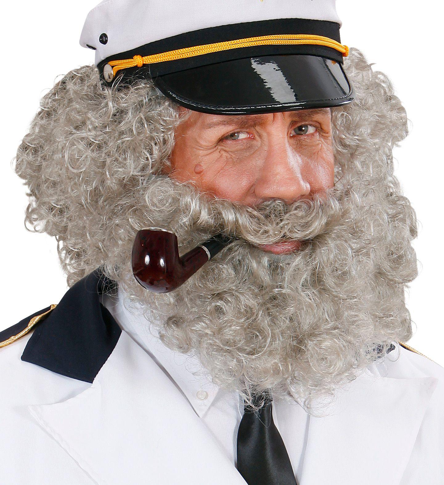Grijze pruik met krullen en baard