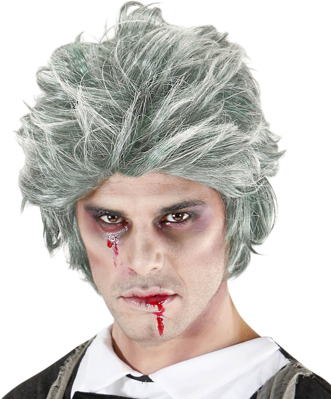 Grijze zombie pruik