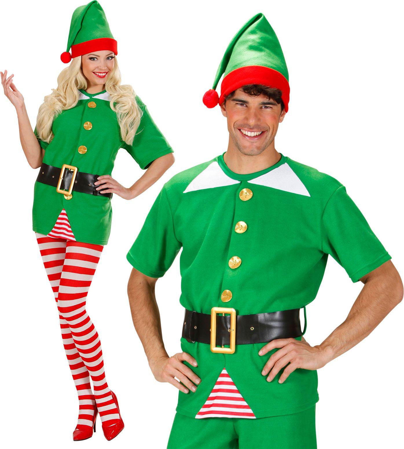 Groen elf shirt met muts en riem