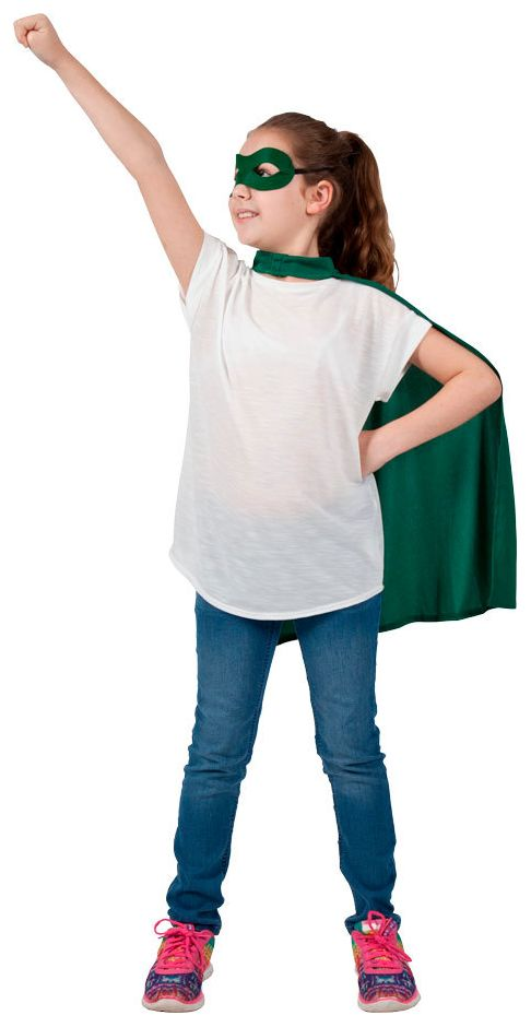 Groen superhelden masker met cape kind