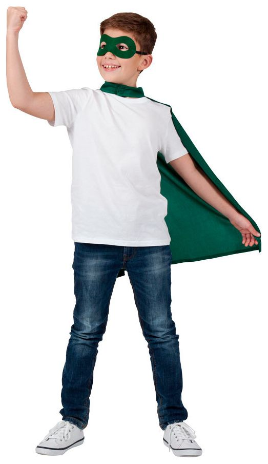 Groen superhelden masker met cape kind