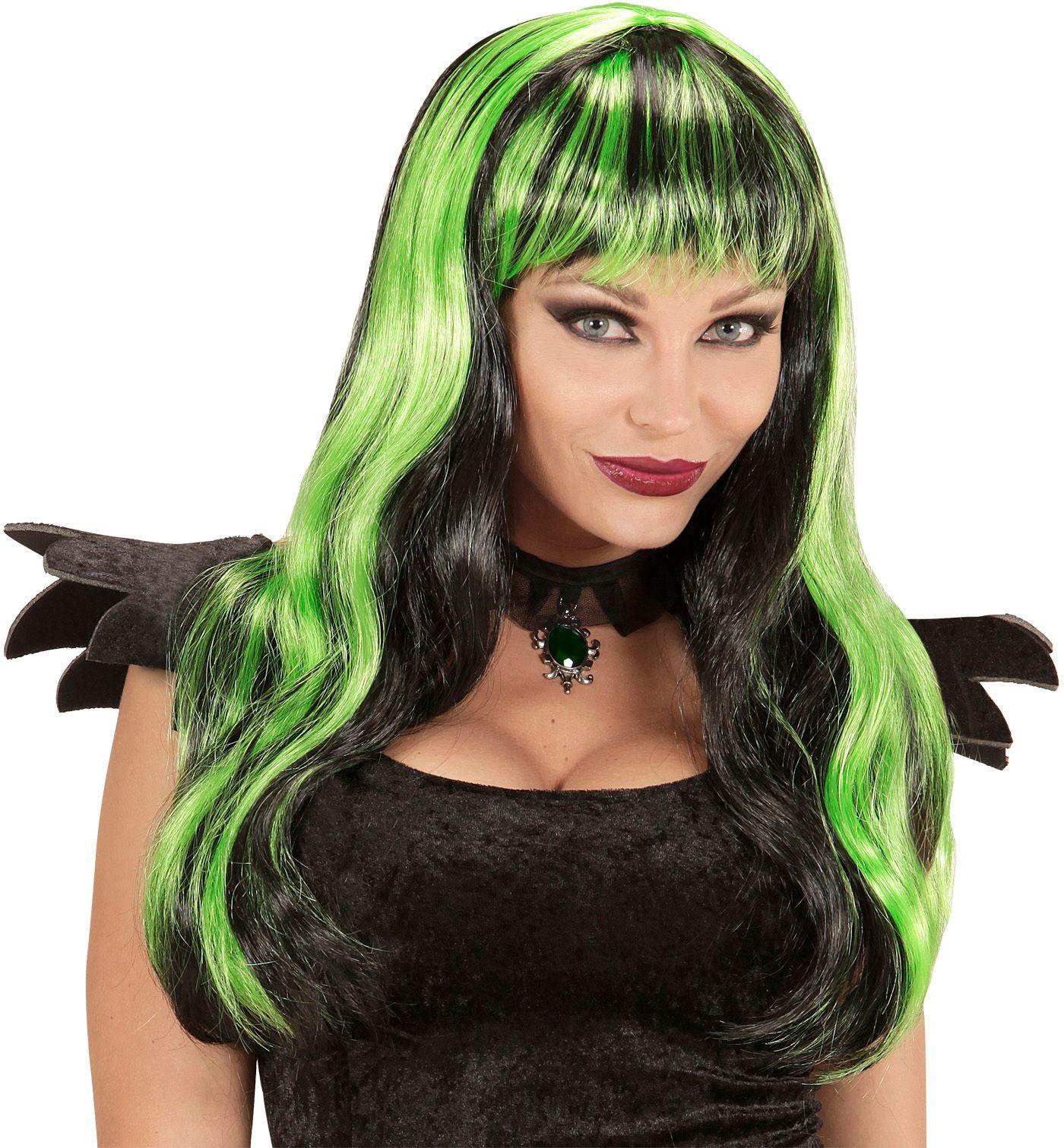 Groen-zwart gestreepte pruik