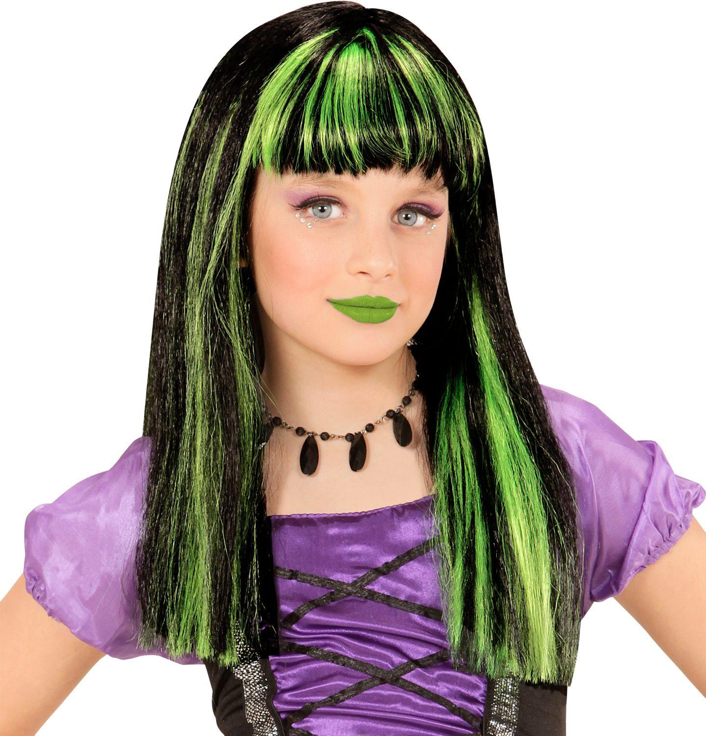 Groen-zwart gestreepte pruik kind