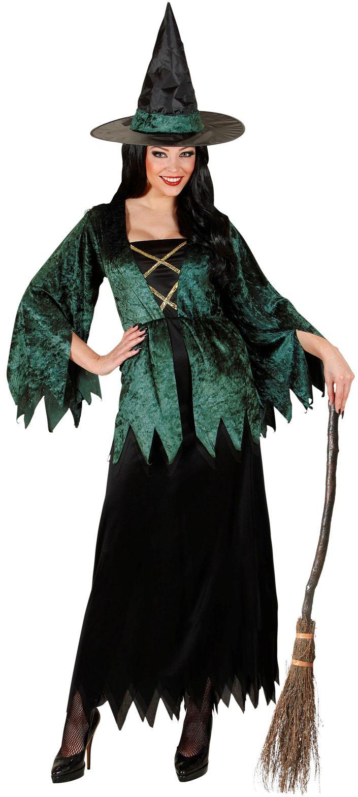 Groen-zwart heks kostuum