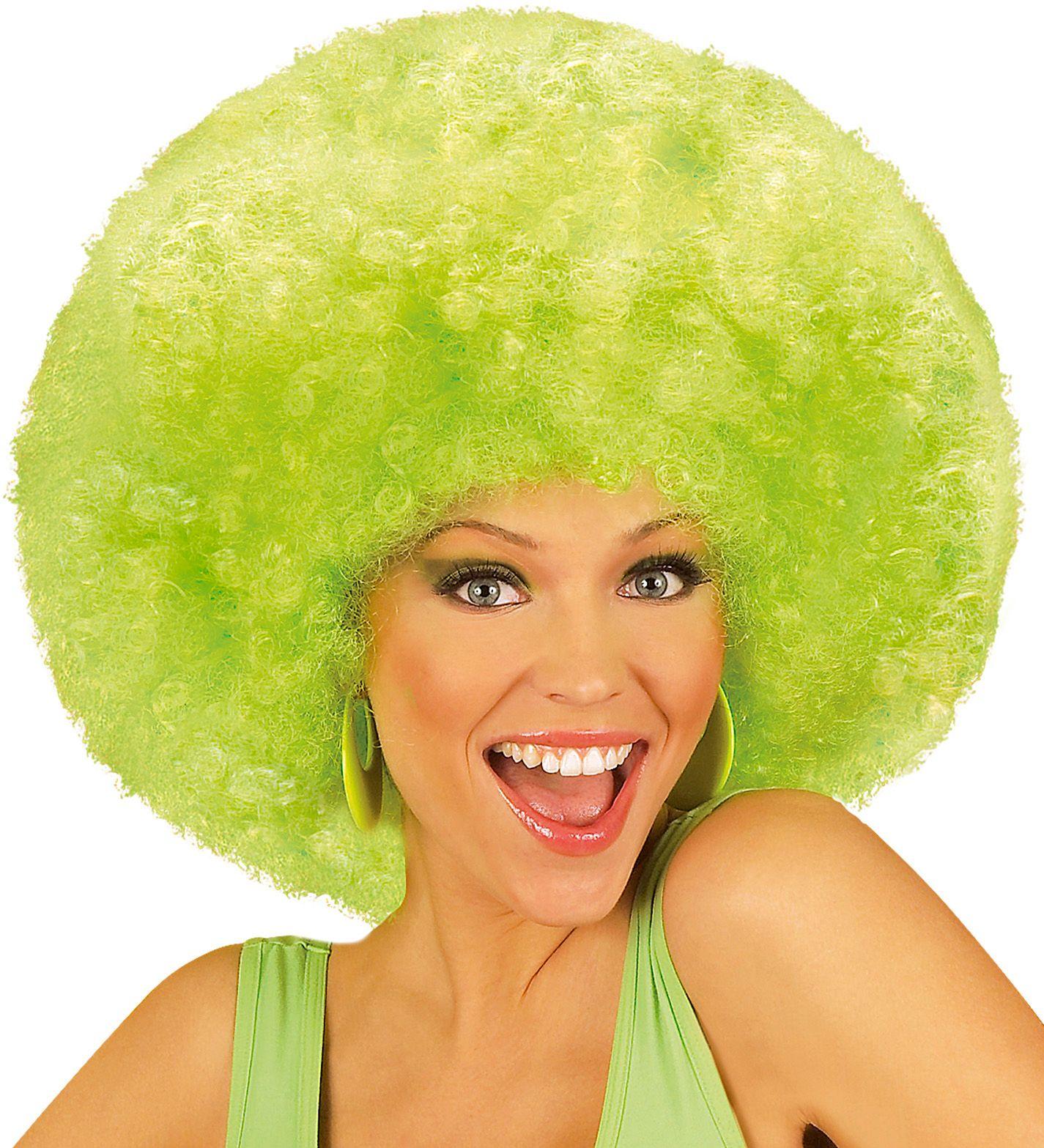 Groene afro pruik met krullen