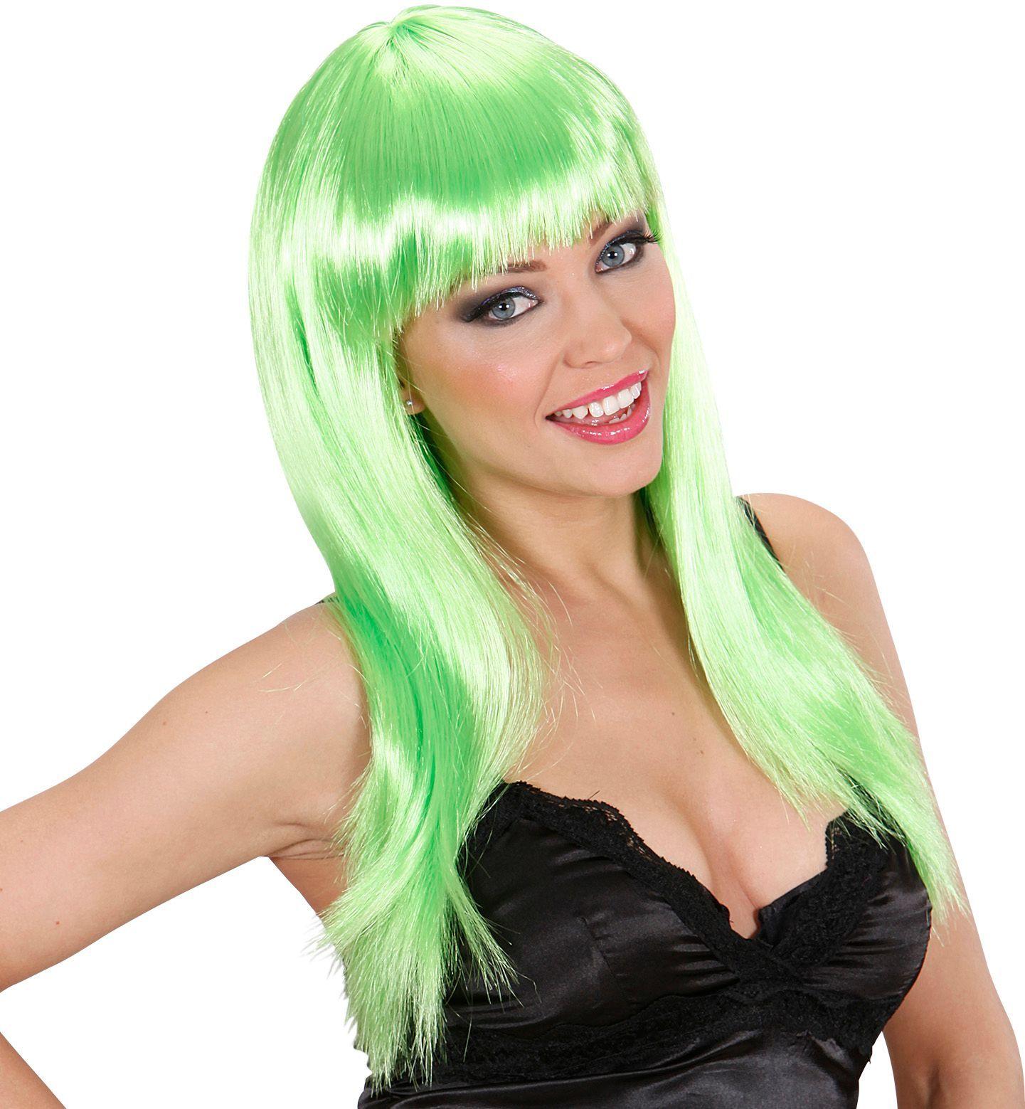 Groene beauty pruik lang haar