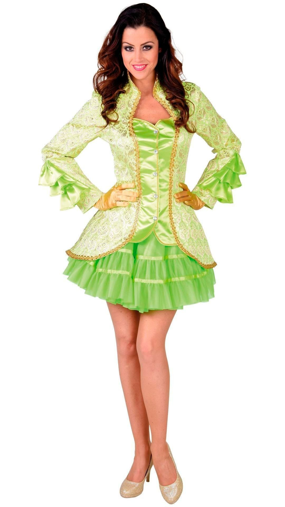 Groene carnavalsjas vrouw