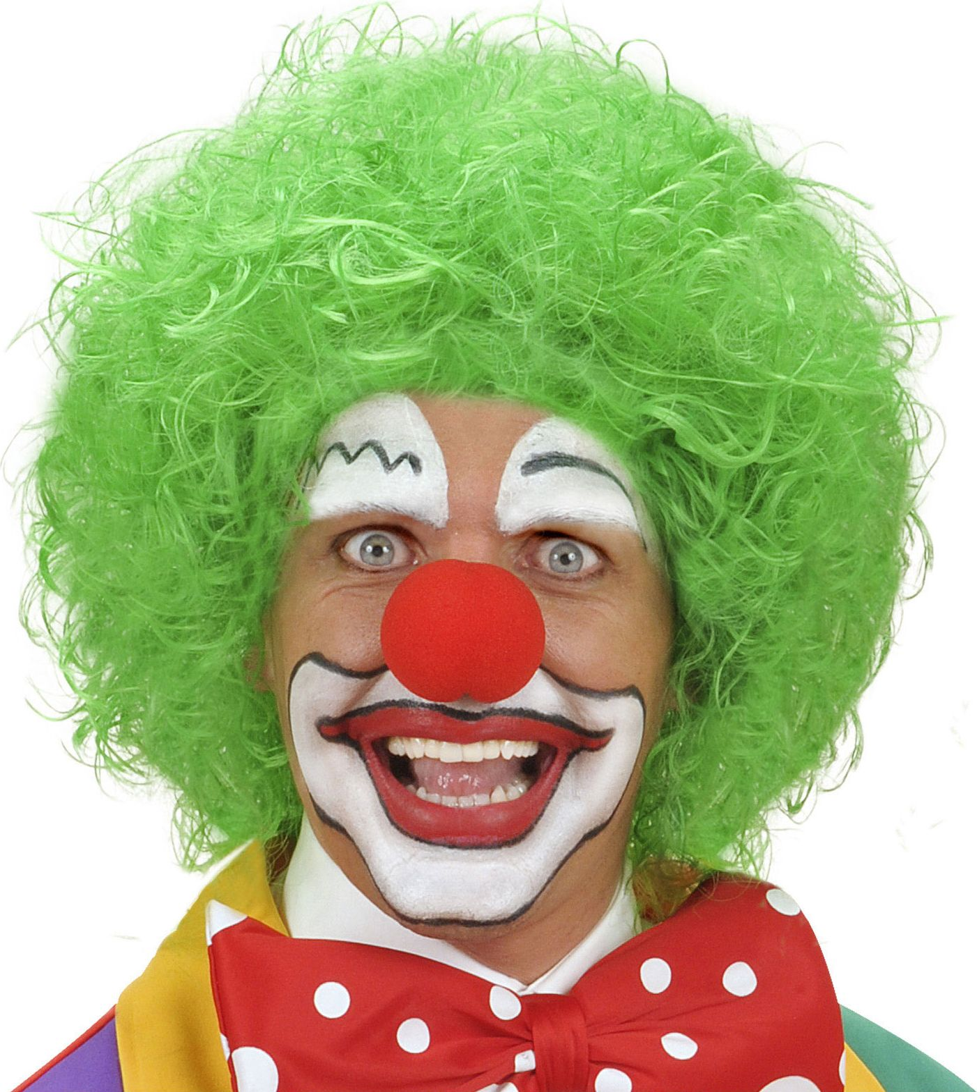 Groene clown pruik