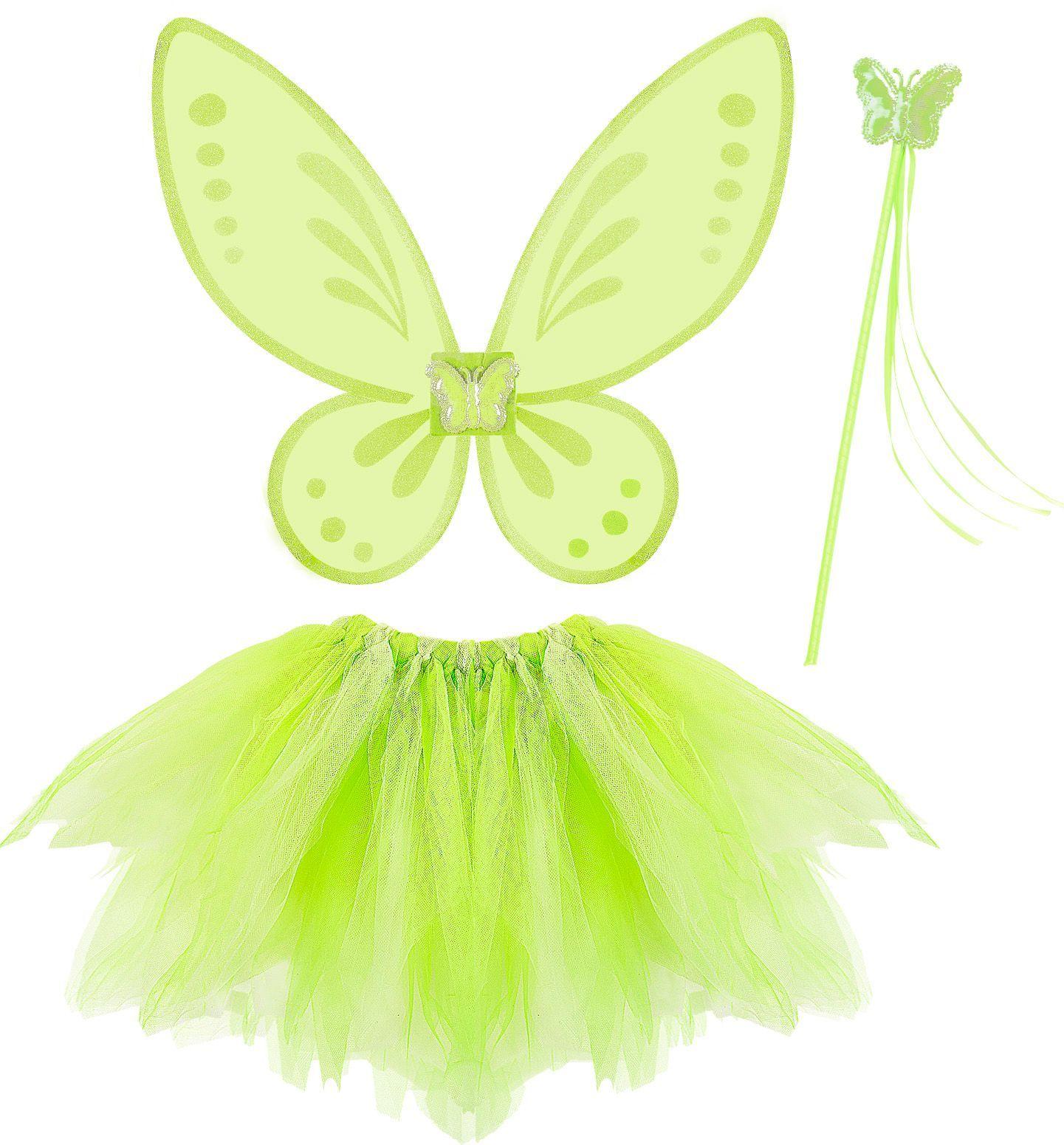 Groene feeën vleugels met tutu en toverstaf
