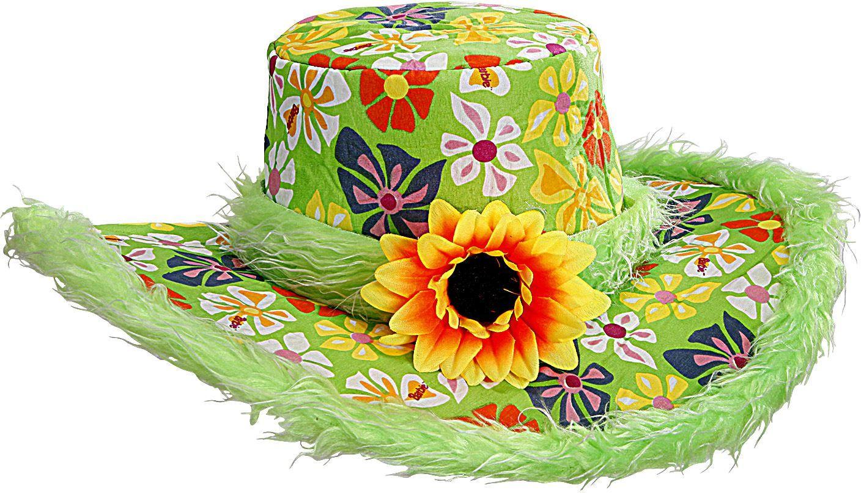 Groene flower power hoed