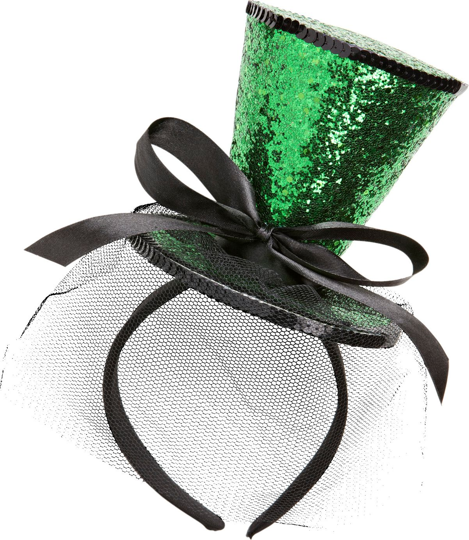 Groene glitter mini hoge hoed