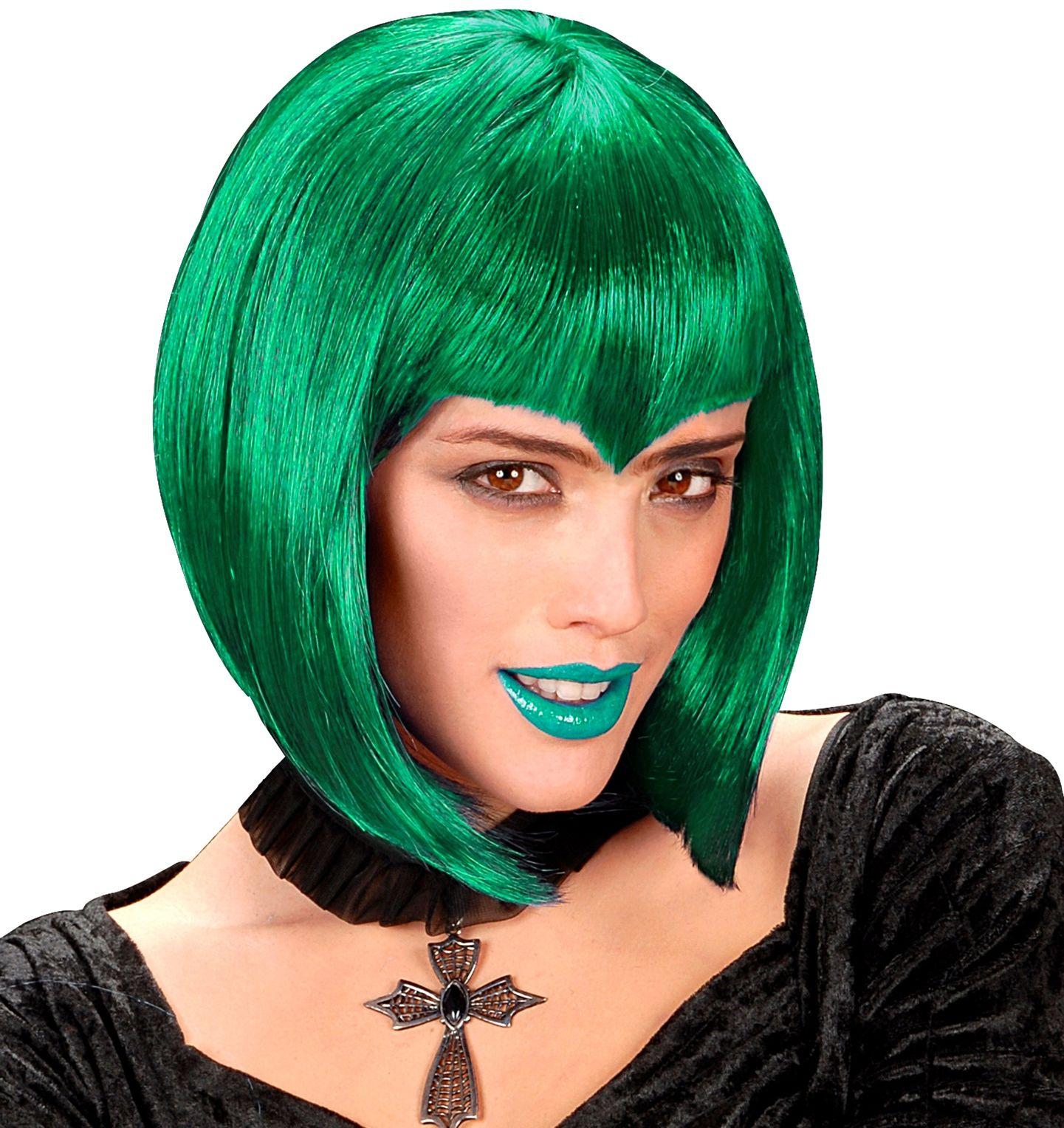 Groene gothic pruik
