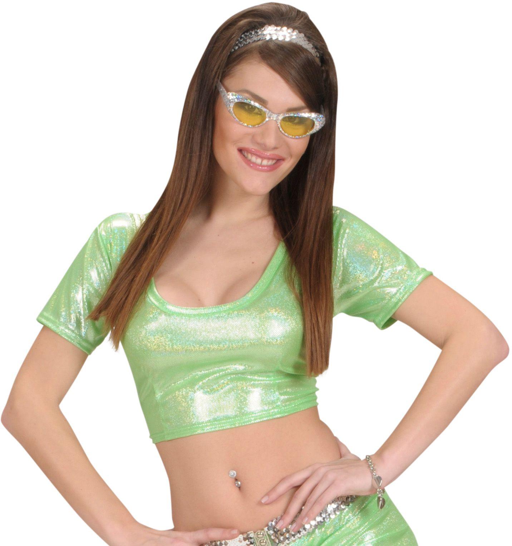 Groene holografische top