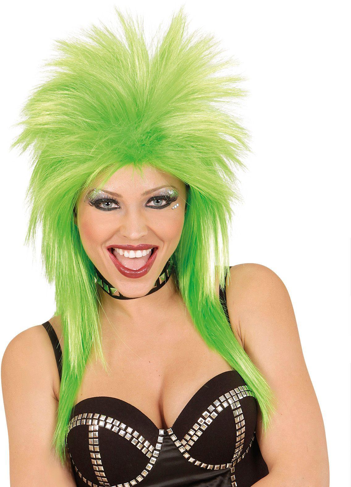 Groene jaren 80 rockster pruik
