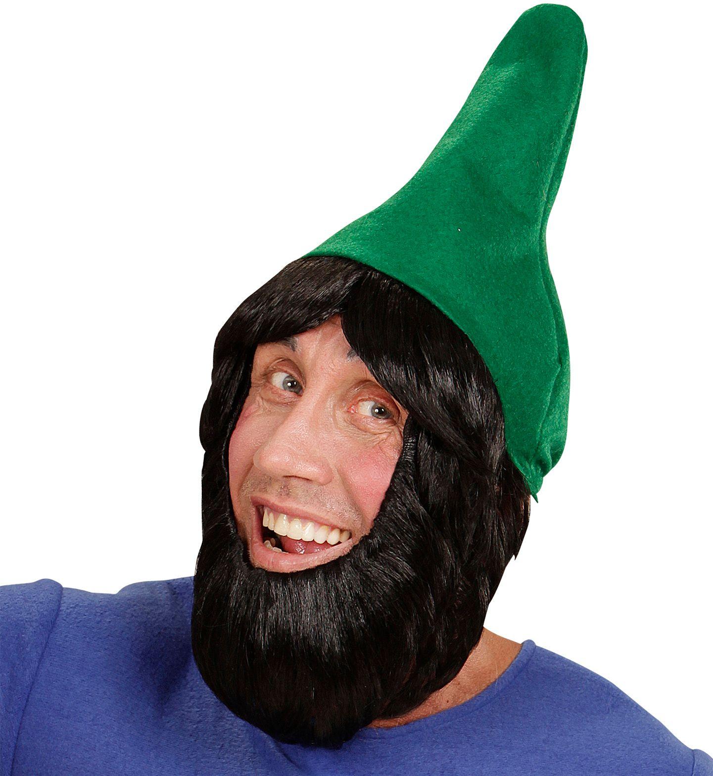 Groene kaboutermuts met pruik en baard