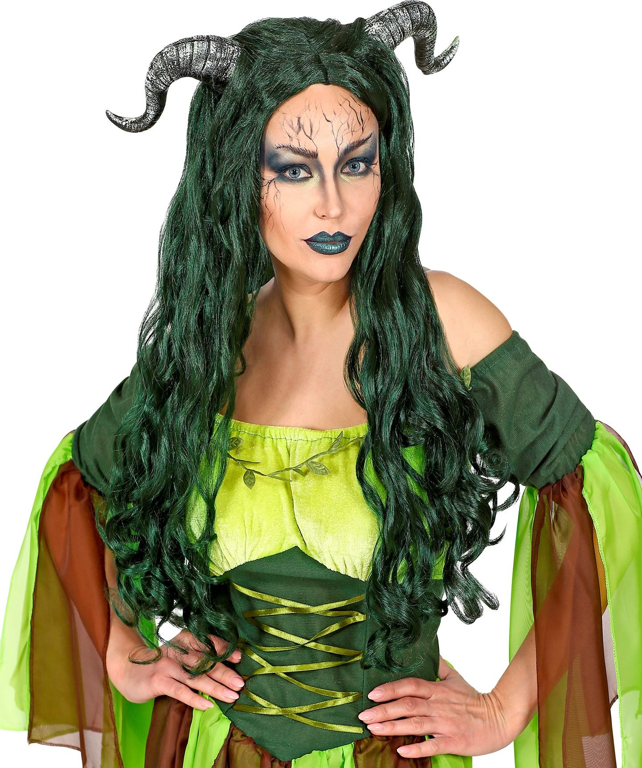 Groene lange heksen pruik