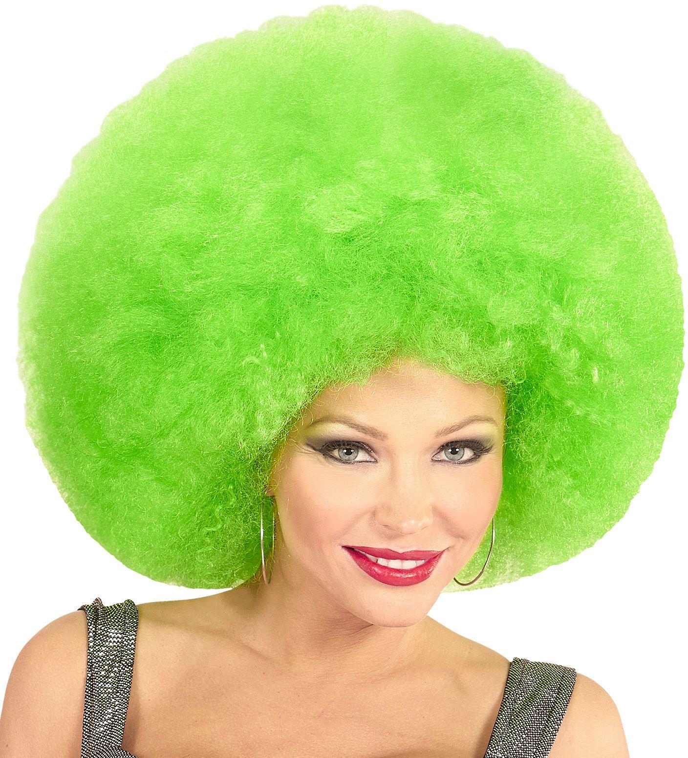 Groene maxi afro pruik