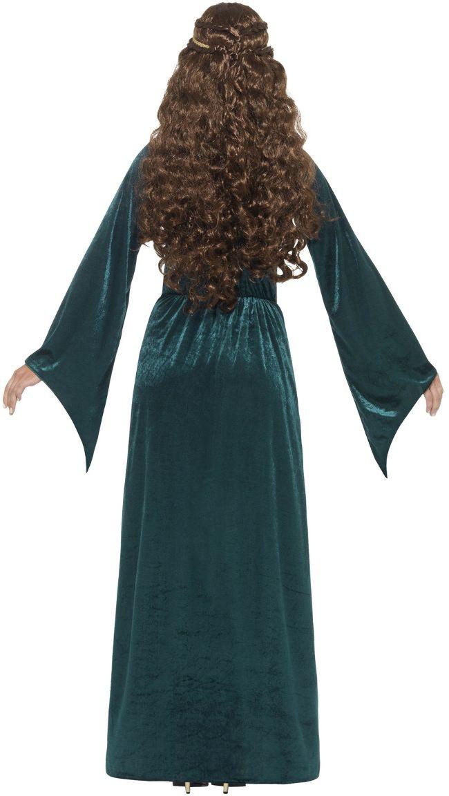 Groene middeleeuwse vrouwen jurk