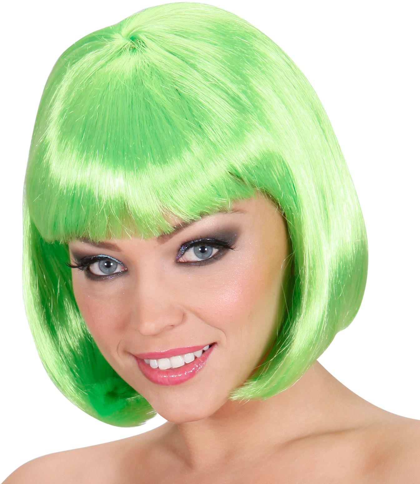 Groene pruik kort haar