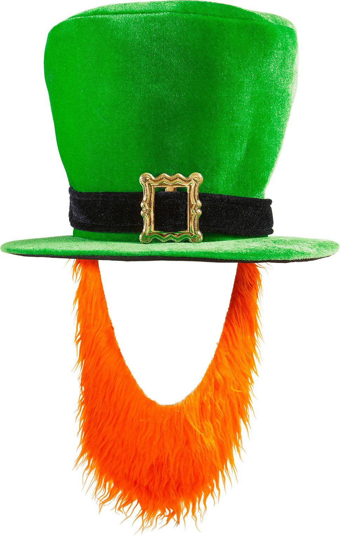 Groene St. Patricksday hoed met oranje baard