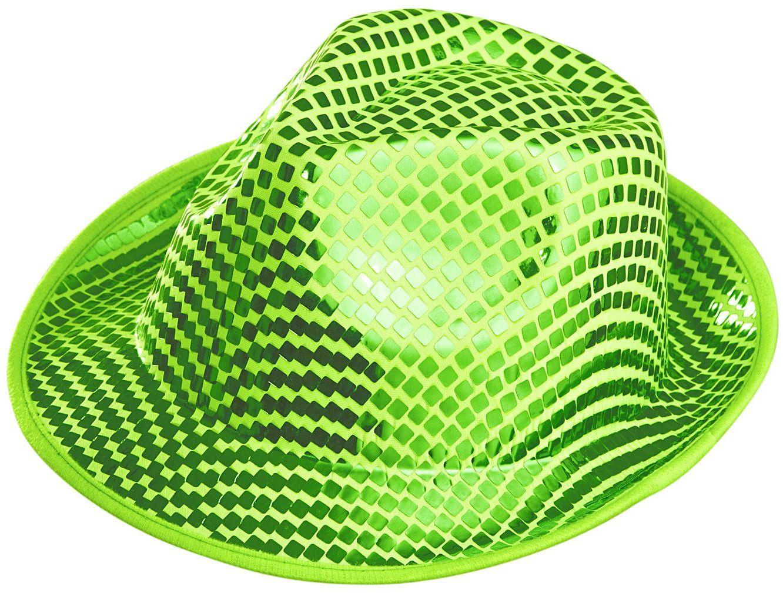 Groene vierkante pailletten fedora