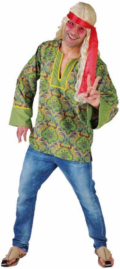 Groene zomer hippie blouse mannen