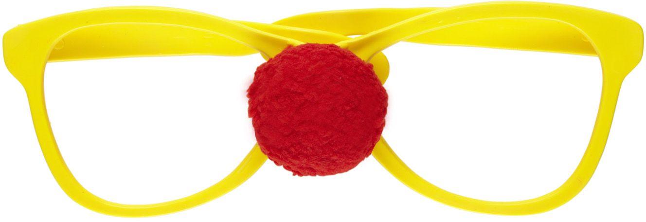 Grote gele clownsbril met neus