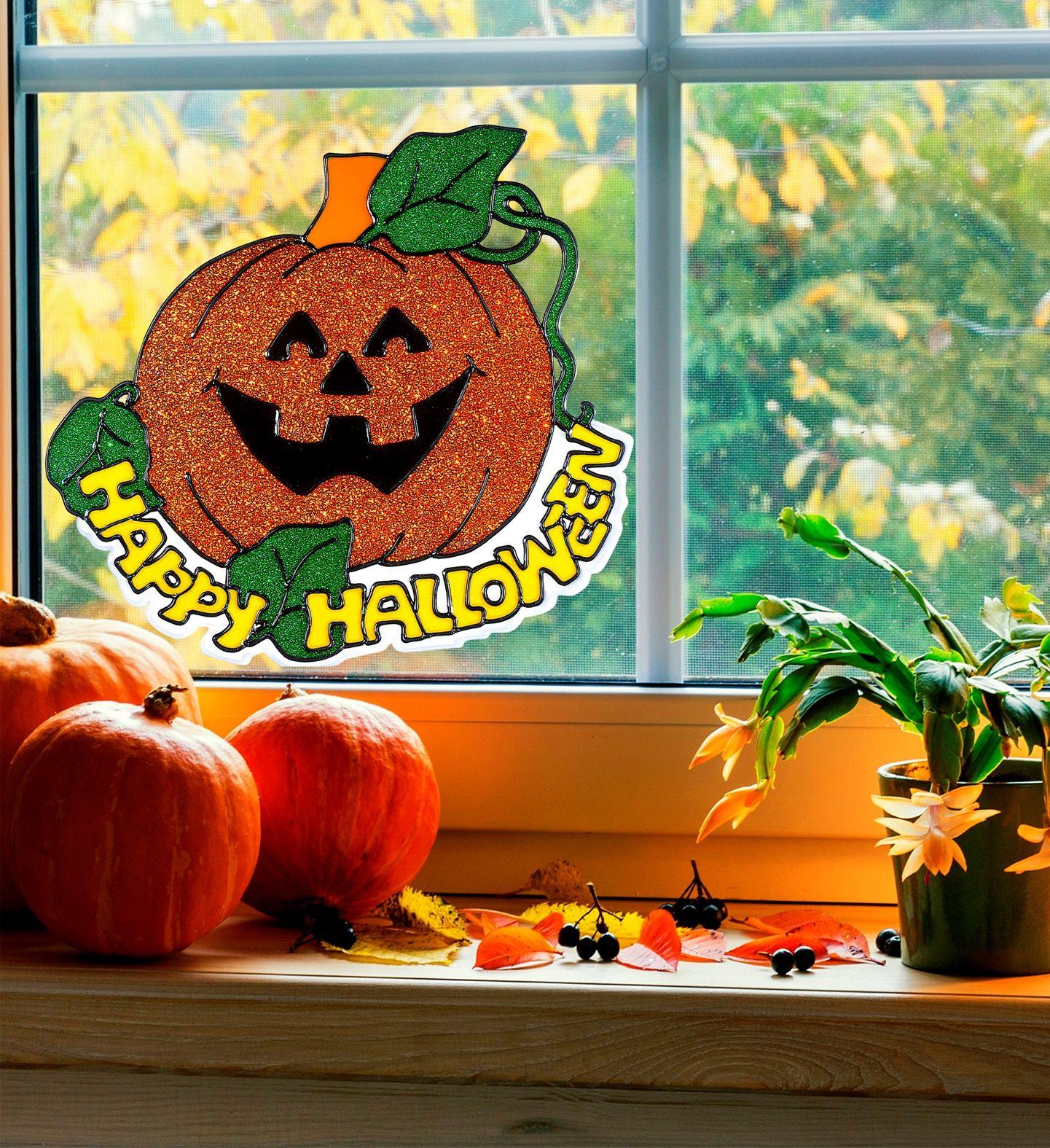 Halloween pompoen raam sticker