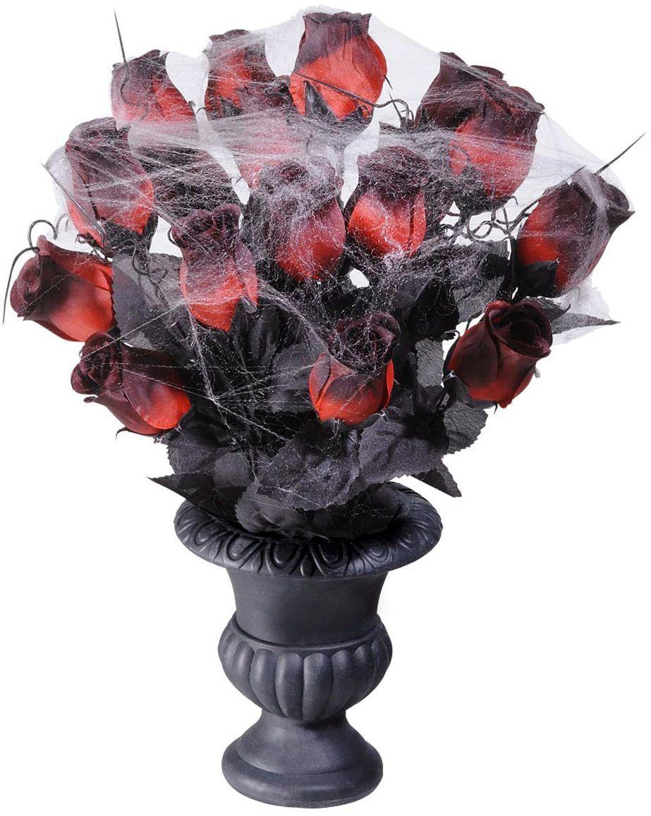 Halloween vaas met rode rozen
