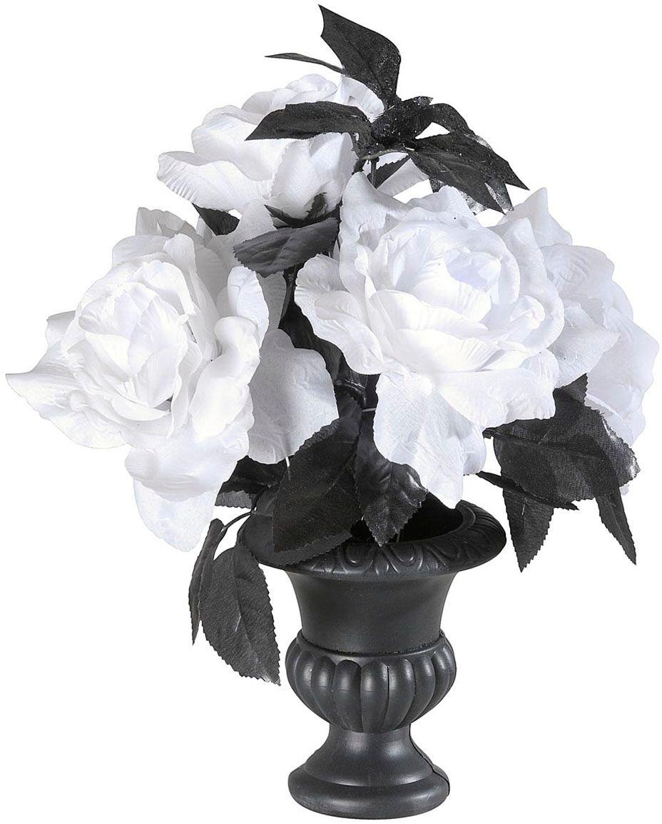 Halloween vaas met witte rozen