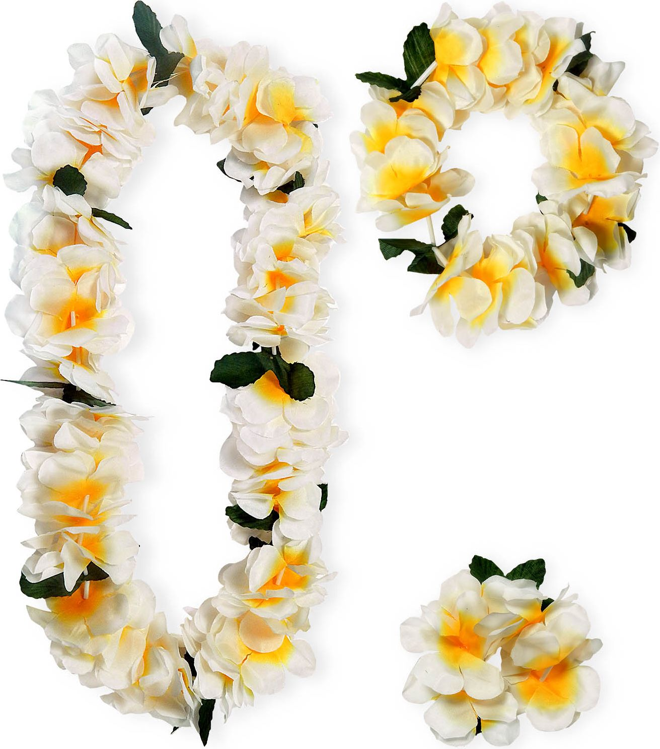 Hawaii slinger, hoofdband en armbanden