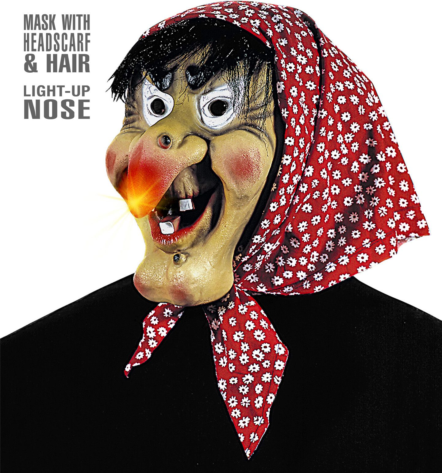 Heksen masker met haar, doek en lichtgevende neus