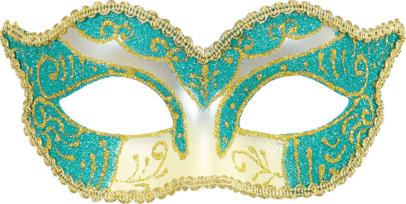 Hertogin oogmasker met goud-blauwe glitters