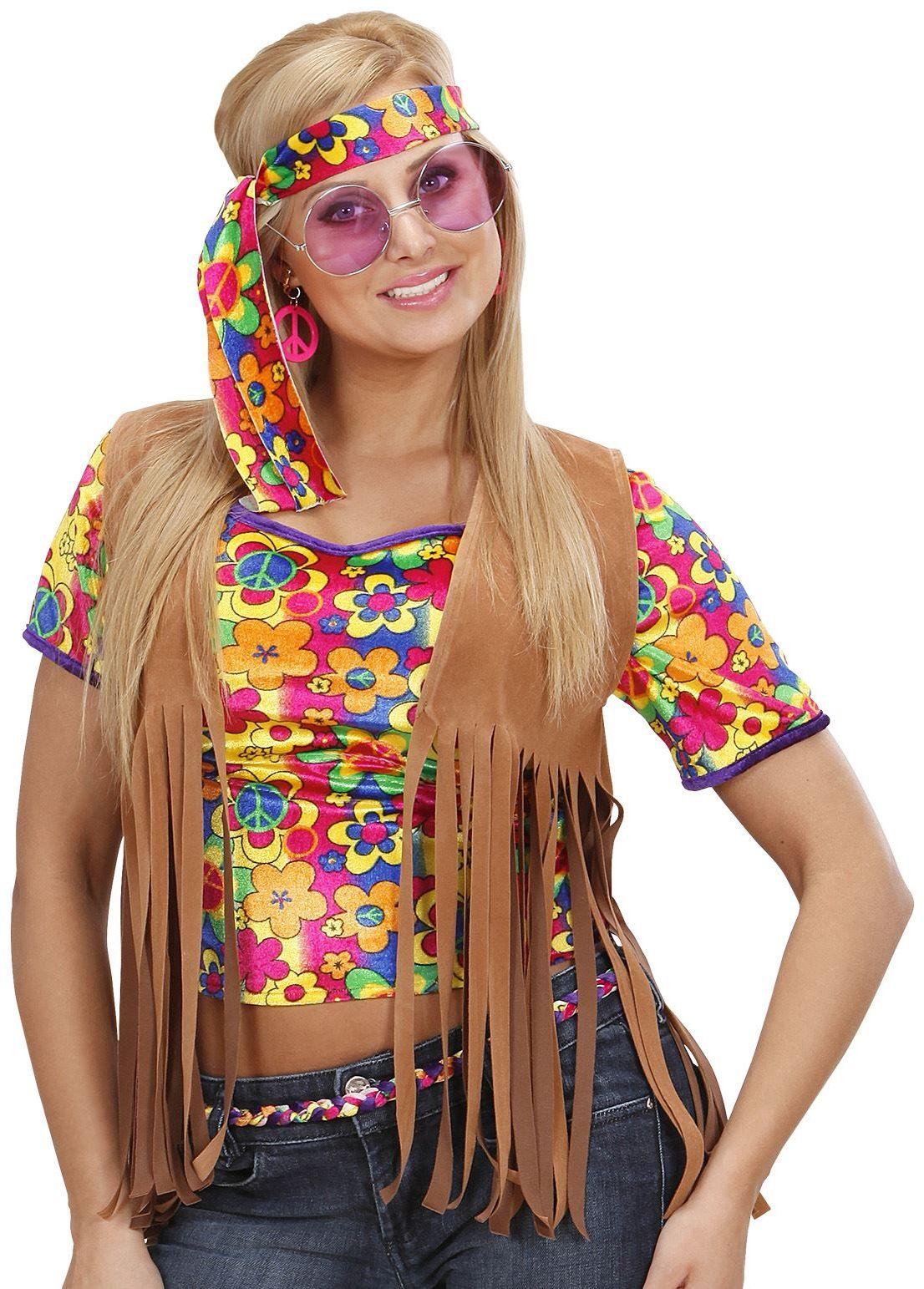Hippie dames suède vest met bloemetjes hoofdband