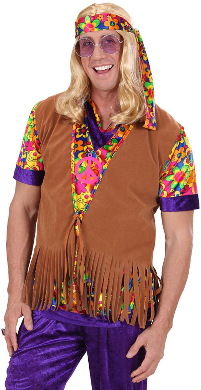 Hippie heren suède vest met bloemetjes hoofdband