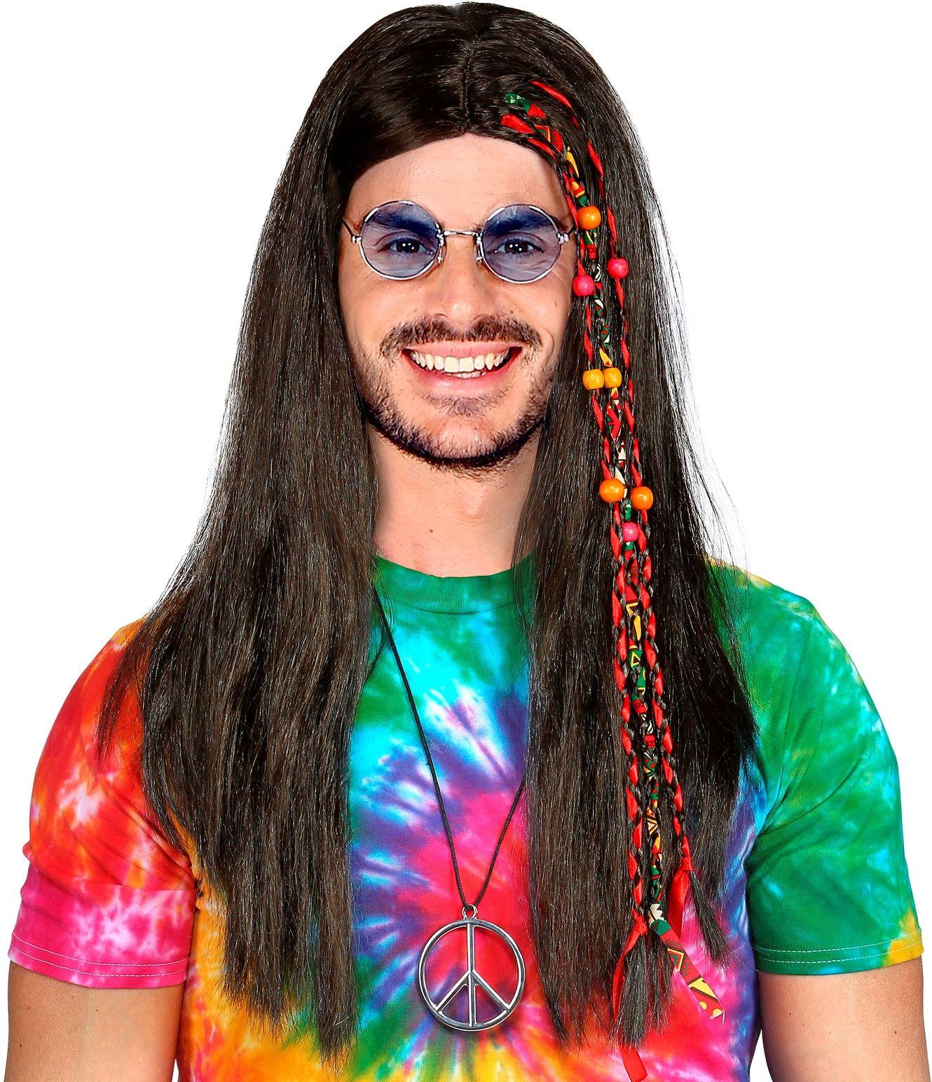 Hippie pruik met kralen