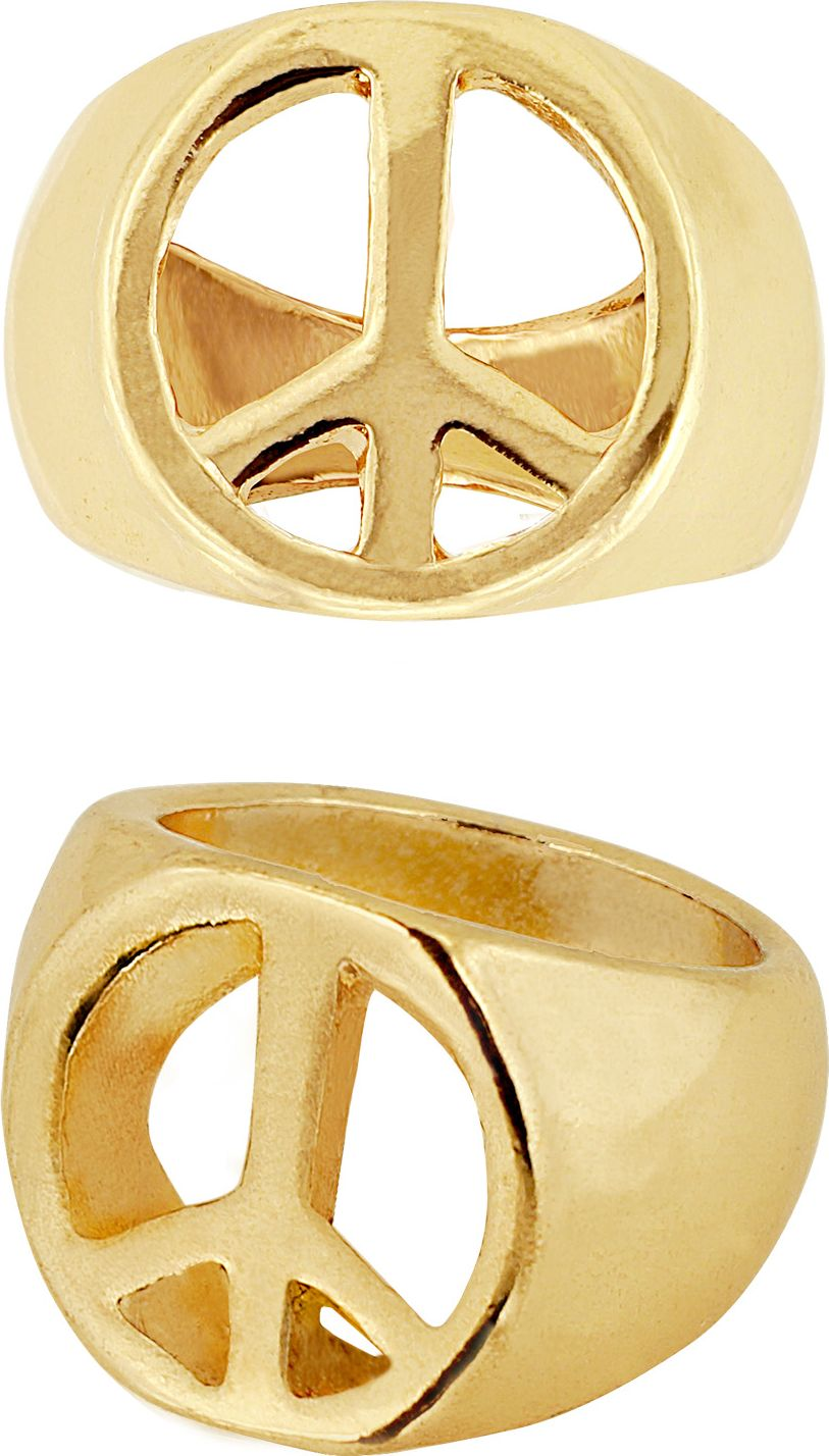 Hippie ring goud peace